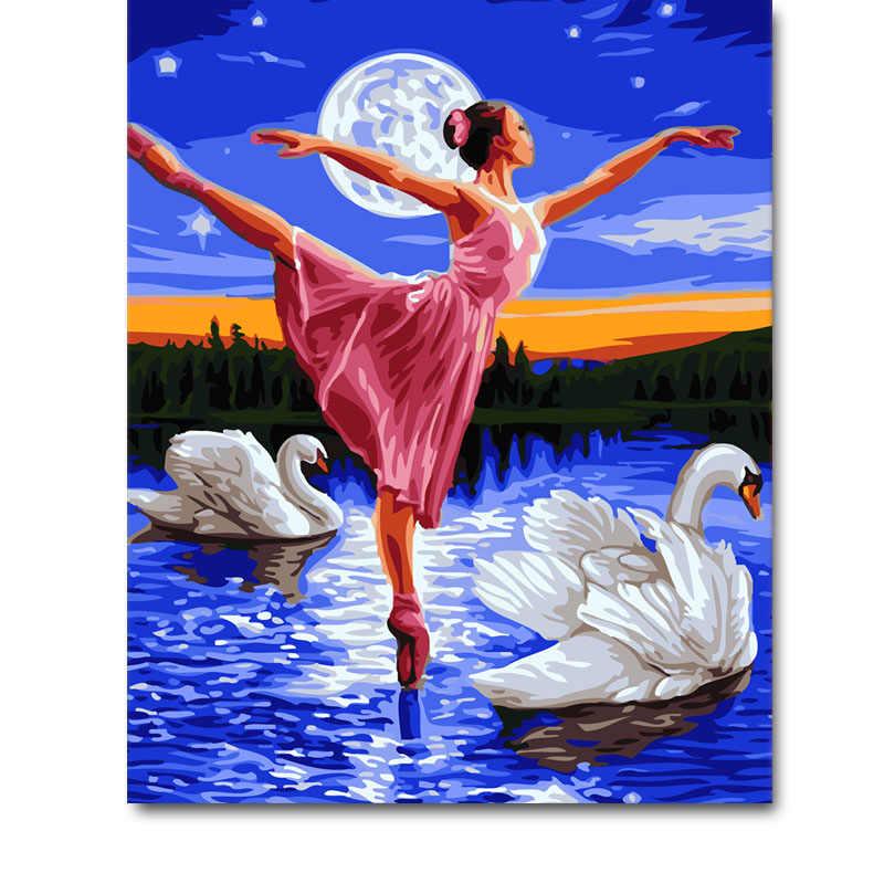 Dibingkai Swan Lake Penari Balet Bulan Diy Lukisan dengan Angka Modern Dinding Gambar Seni Akrilik Cat dengan Angka untuk Rumah dekorasi