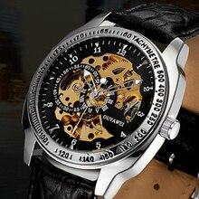 2016New llegada moda y casual OUYAWEI reloj mecánico automático esquelético hombres banda de cuero de lujo del relogio masculino