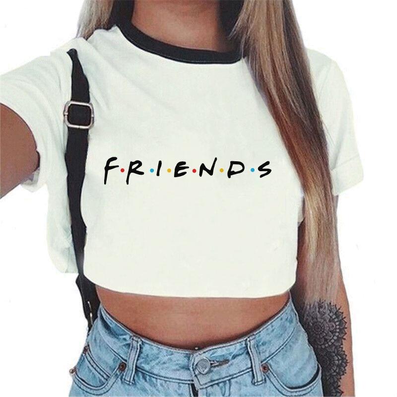 ec7da34b 2019 Summer Tops For Women Sexy tumblr Kawaii Harajuku Best Friends Tv print  T Shirt Aesthetic Crop Top Graphic Tees Women