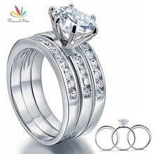 Павлин звезда 2 карат, круглая огранка твердое серебро 925 3 шт обручальное кольцо набор ювелирных изделий CFR8101