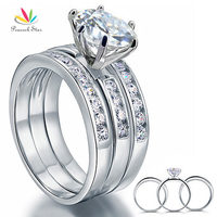Wholesale 2 Carat Round Cut CZ Simulated Diamond Solid Sterling 925 Silver 3 Pcs Wedding Engagement