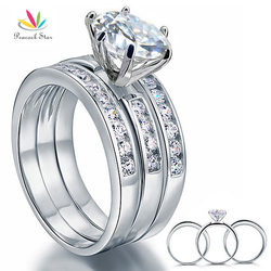 Peacock Star 2 Carat Round Cut Solid Sterling 925 Silver 3-Pcs Wedding Engagement Ring Set Jewelry CFR8101