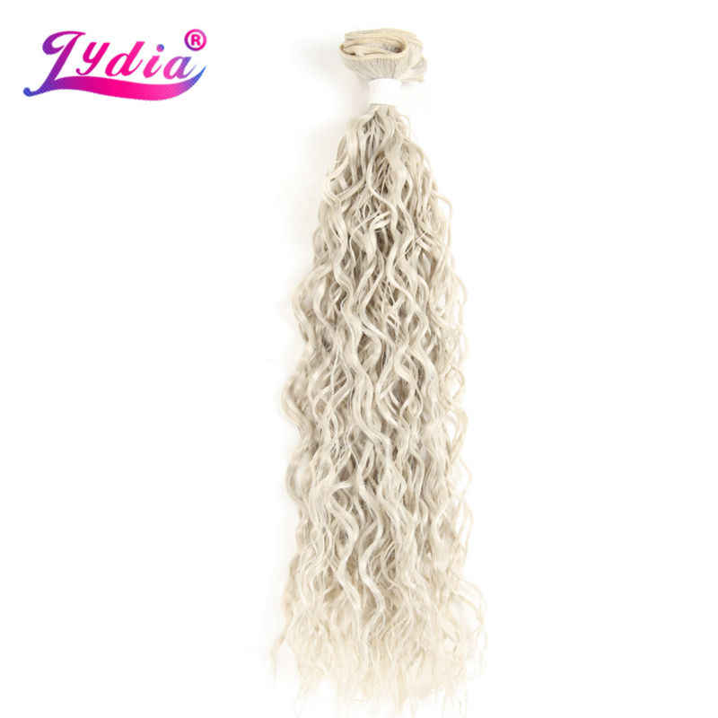 "Lydia Voor Vrouwen Synthetisch Krullend Weave 3 Packs/Lot 18 ""-22"" Natuur Kleur Graysilver Wave Haar bundels Jerry Krul Hair Extensions"