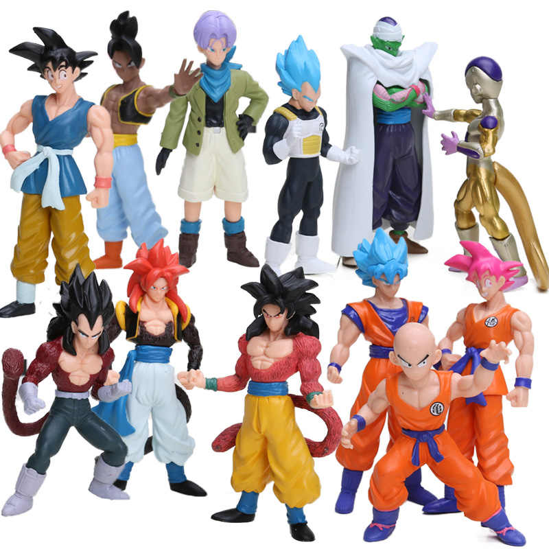 6 pcs 12-15 centímetros Figuras De Dragon Ball Z Conjunto Kulilin Piccolo Vegeta Super Saiyan Goku Frieza Celular PVC Action Figure Modelo Toy Boneca