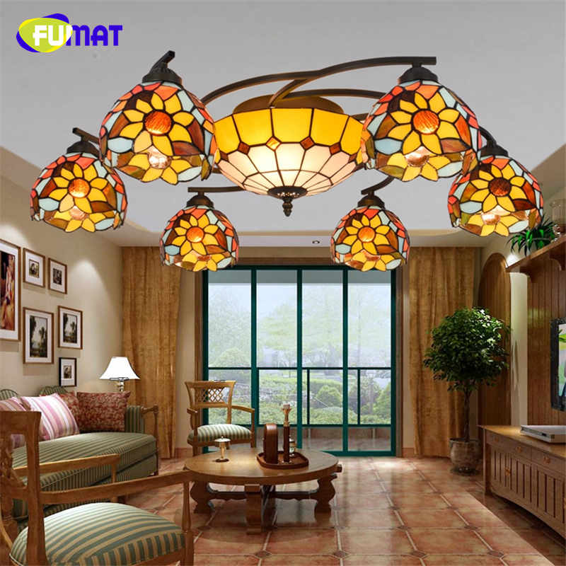 Ceiling Lamp Shades For Living Room: FUMAT Mediterranean Style Warm Yellow Shade Ceiling Lamp