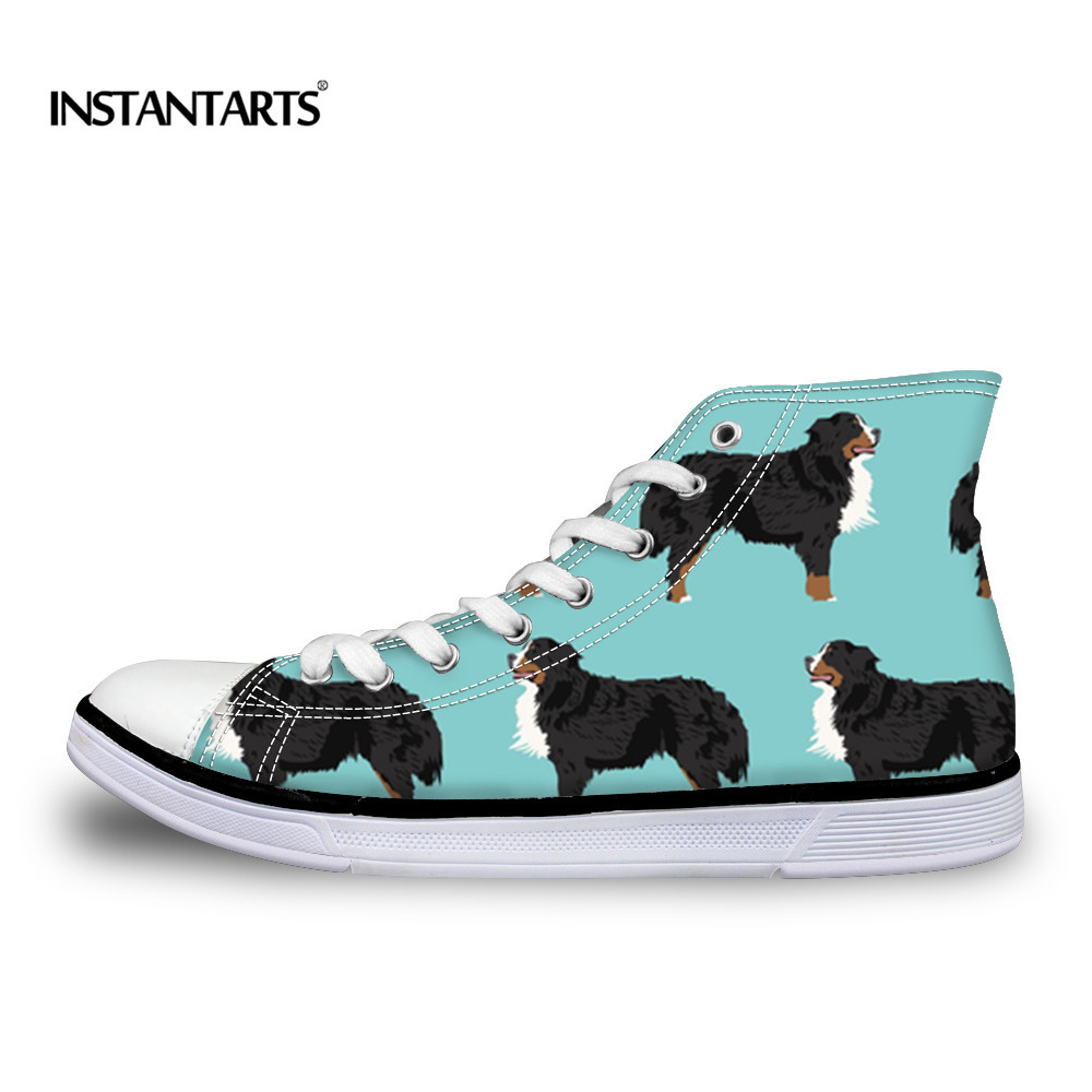 INSTANTARTS Fashion Autumn Flat Shoes Boy Girl Cute Bernese Mountain Dog Print Kid High Top Shoes Classic Vulcanize Canvas Shoes