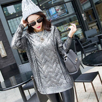 European Style Women Bronzing Sweater Round Neck Casual Golden/Silver Knitwear Sweaters Ladies Pullovers Sweaters AL88