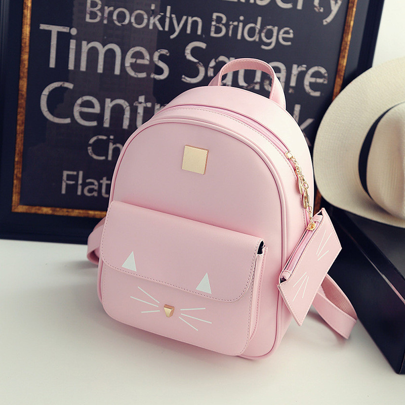 New Lovely 3D Cats Small Purse Girls Backpack PU Leather Phone Pocket College Women School Shoulder Bag Frau Rucksack Mochila