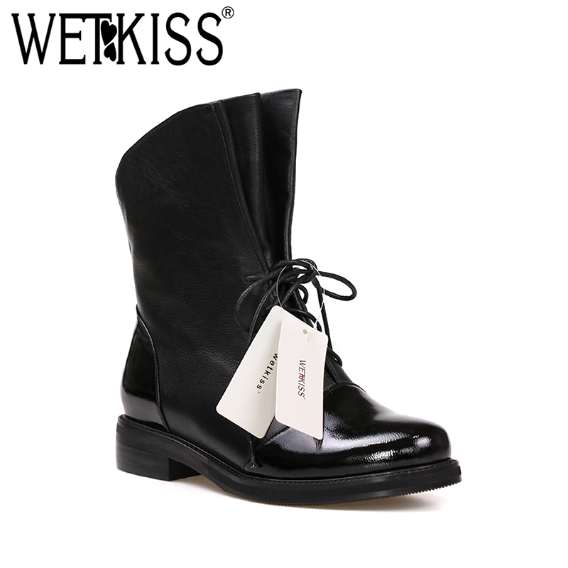 WETKISS Genuine Leather Short Boots Women Round Toe Bootie Wool Liner Warm Lace Up Motorcycle Thick Heels Footwear Female Shoes
