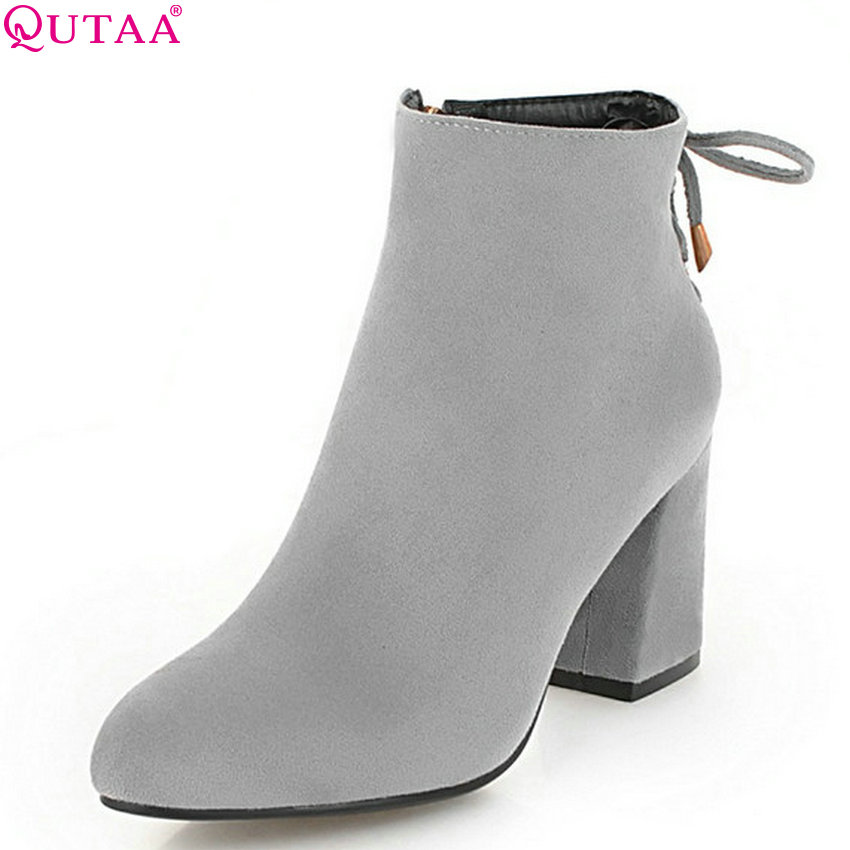 QUTAA 2019 Women Ankle Boots Platform Winter Shoes All Match Grey Flock Square High Heel Women Motorcycle Boots Big Size 34-43QUTAA 2019 Women Ankle Boots Platform Winter Shoes All Match Grey Flock Square High Heel Women Motorcycle Boots Big Size 34-43