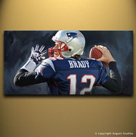 TOM BRADY New England Patriots NFL Football 2015 TOP Best Art Oil Painting 100 Handpainted 20x40
