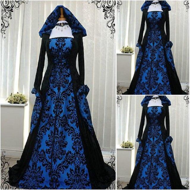 Discount Fantasy Fairy Medieval Gothic Wedding Dresses: L'histoire! Client Made Bleu Vintage Costumes Renaissance