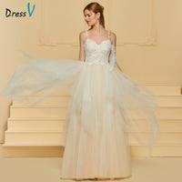 Dressv Champagne Elegant A Line Wedding Dress Spaghetti Straps Beading Lace Floor Length Bridal Outdoor Church