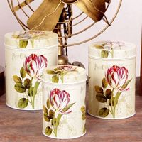 Free Shipping 3pcs Lot American Style Storage Tin Box White Rose Flower Cookie Creative Storage Case