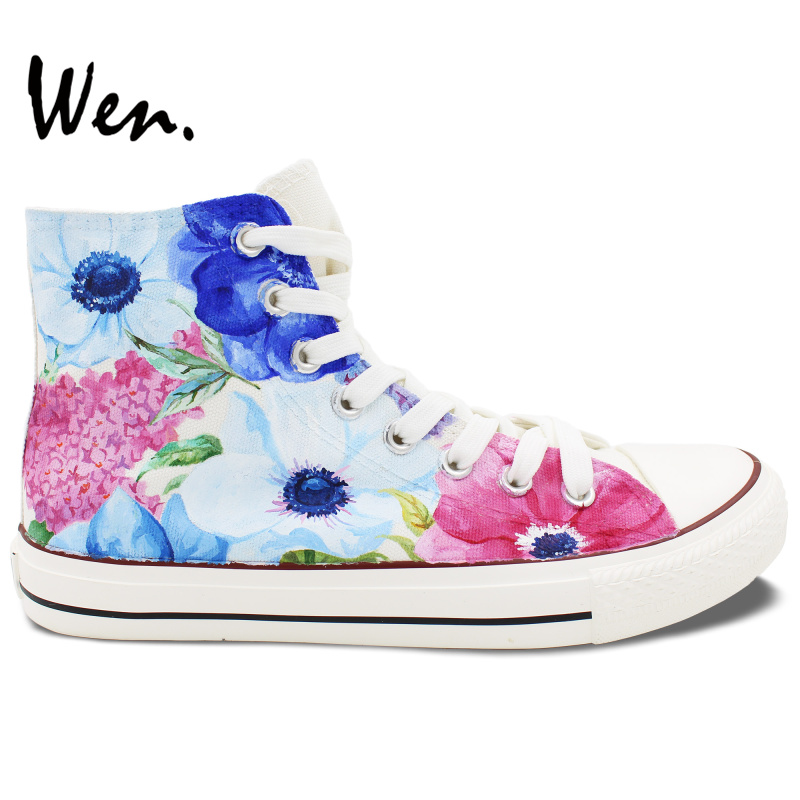 Wen Original Woman s Hand Painted Shoes Design Custom Flowers Watercolor Floral Women Girls High Top