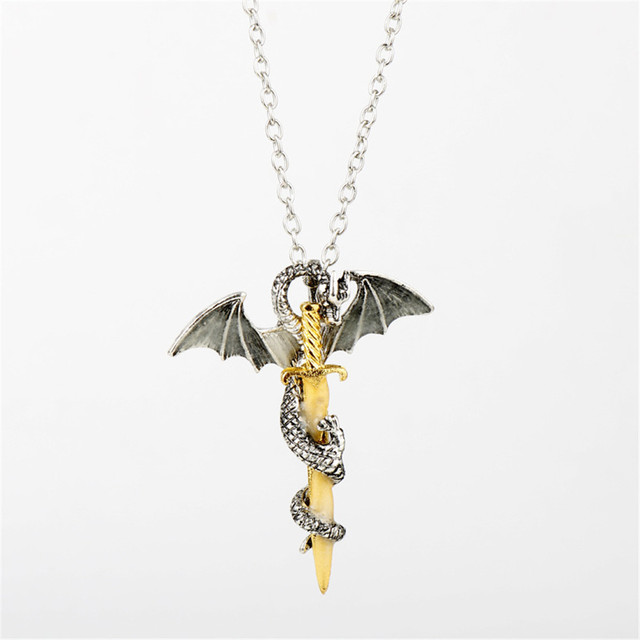 Game of Thrones Dragon Luminous Dragon Sword Pendants Necklace