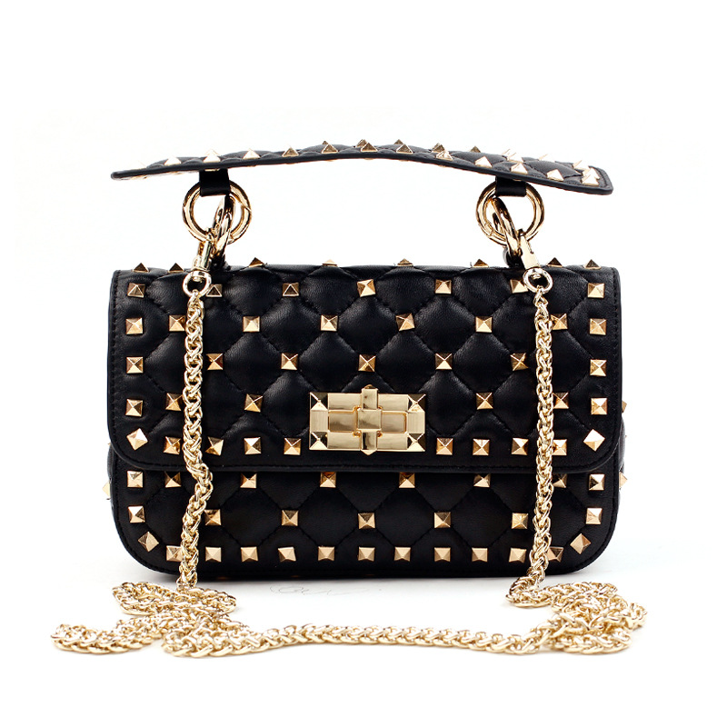 Luxury Handbags Women Bags Designer New Rivet Clutch Tote Bag Sheepskin Famous Brands Chains Shoulder Bags Bolsa Feminina Autumn 2018 new designer retro genuine leather bags handbags women famous brands ladies office work bag messenger clutch bolsa feminina