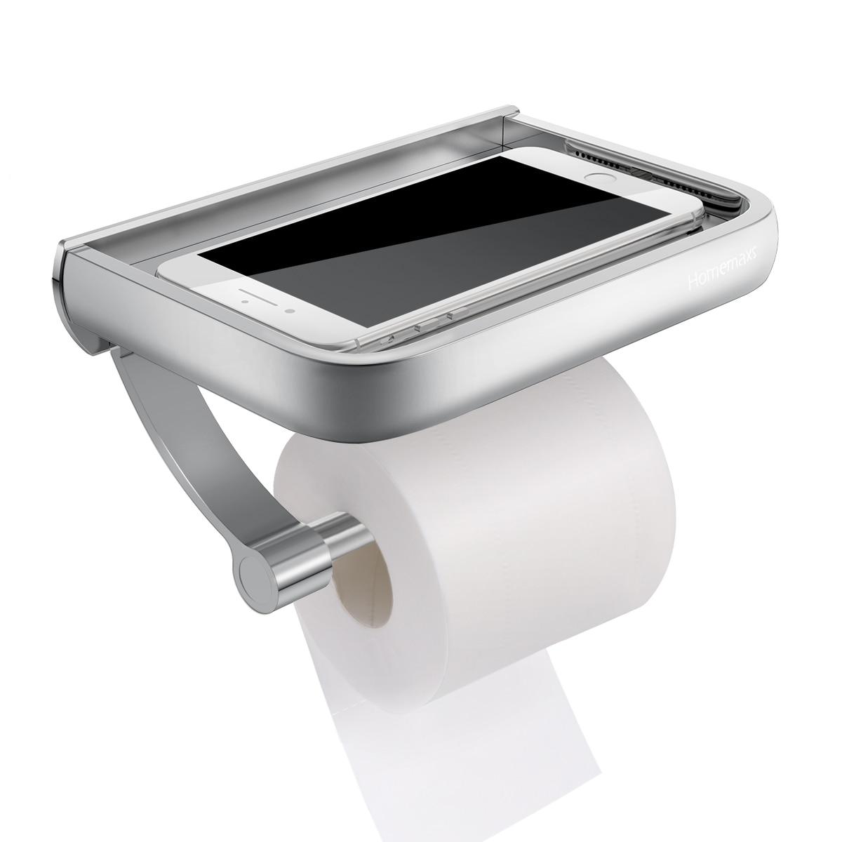 HOMEMAXS Wall Mount Toilet Paper Holder Aluminum Tissue Paper Holder Toilet Roll Dispenser With Phone Storage Shelf For Bathroom