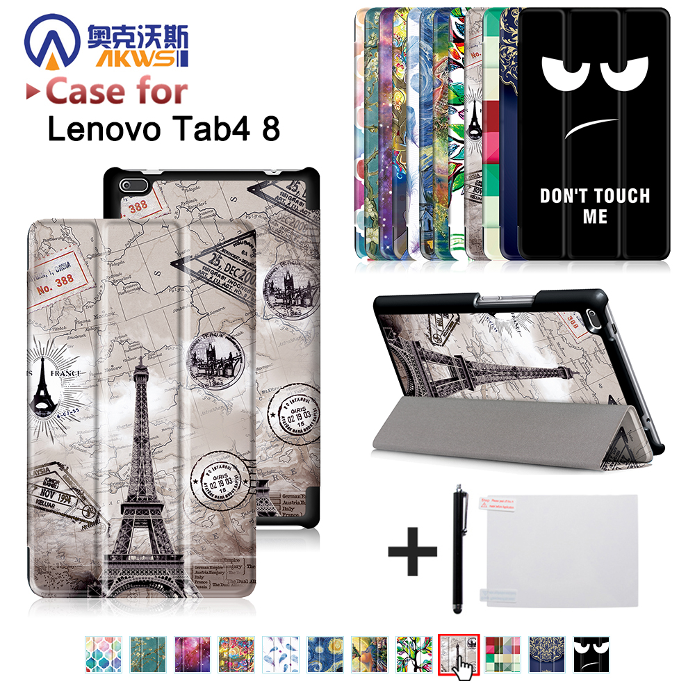 все цены на For Lenovo Tab 4 8inch tablet (TB-8504F TB-8504N) PU leather cover case 2017 release with stand PU Leather Protective Case+gift онлайн