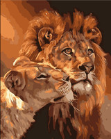 HQ Frameless The Lion Animal DIY Painting By Numbers Kits Coloring Oil Painting On Canvas Drawing