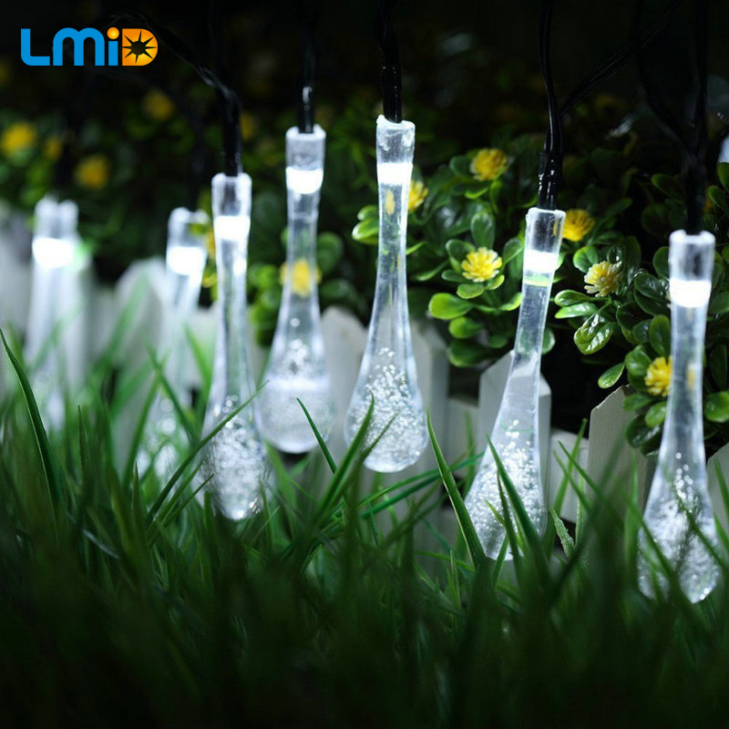 LMID 4.8M 15.75FT 20LED Solar String  Lights Colorful Raindrop Waterproof Holiday Lighting Outdoor Garden Decoration Lamps