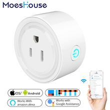 Enchufe de alimentación de EE. UU. Mini Wifi Smart Socket Control remoto móvil funciona con Amazon Alexa Google Home para la vida inteligente No hub requiere(China)