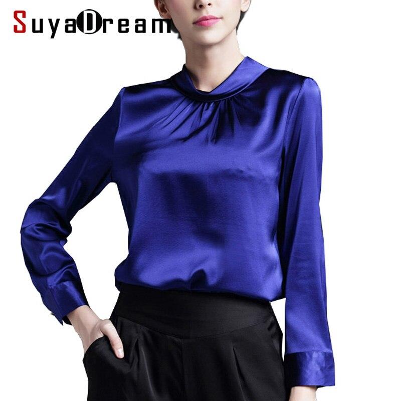 Real SILK blouse Women stand collar long sleeve Satin Silk Solid Blusas femininas Office lady STRETCH