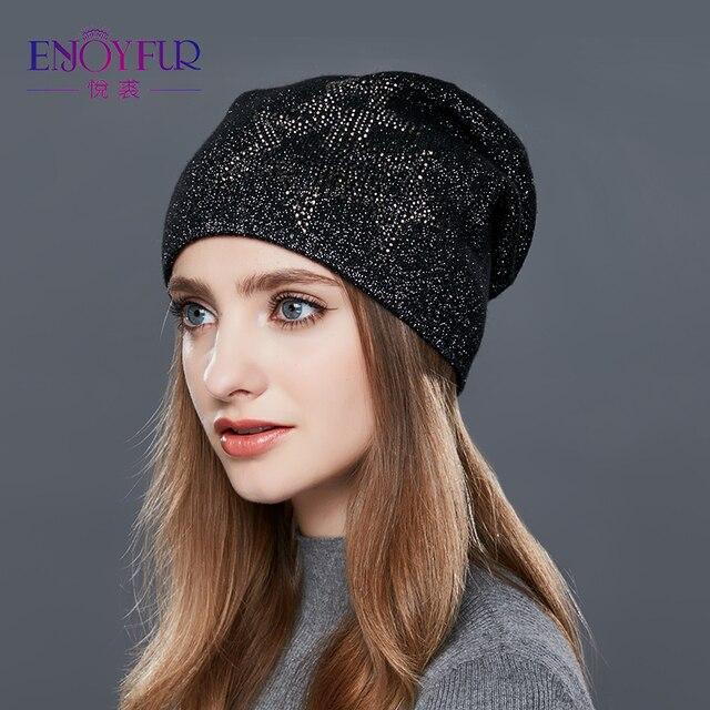 ENJOYFUR зимние женские шапки Мода Высокое качество шерсть кепки Стразы украшения леди шапочки