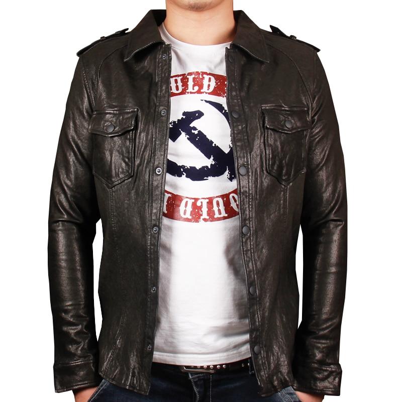 HARLEY DAMSON Black Slim Fit Genuine Leather Jacket Men Single Breasted Spring Popular Sheepskin Bikers Leather Shirt