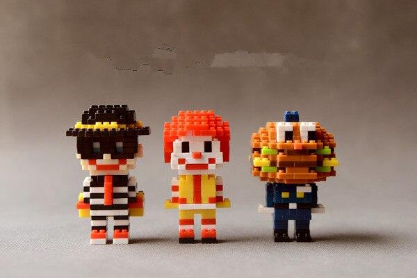 Clown koddig hamburgers bouwstenen figuur speelgoed pop model bureau