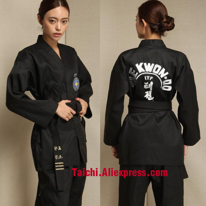 Martial Arts TKD Tae Kwon Do Korea V-neck  Taekwondo Dobok For Poomsae & Training,WTF Uniform,160-190cm White And  Black