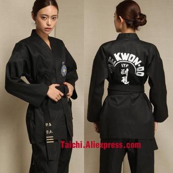 Uniforme de Taekwondo con cuello en v para entrenamiento, TKD, Taekwondo, Kwon Do coreano, para Poomsae y entrenamiento, WTF, 160-190cm, blanco y negro