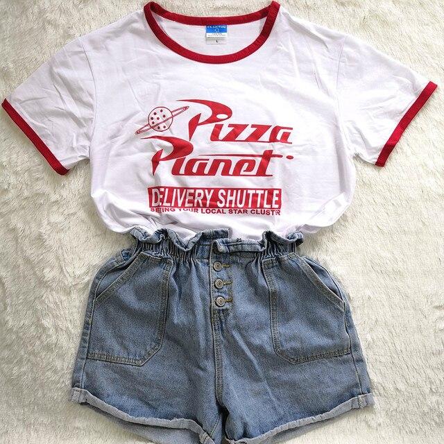 Summer Tshirt Letter Pizza Planet Print Women T Shirt Graphic Tee