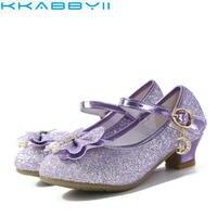 בנות ילדי גליטר נעלי העקב גבוה Bowtie Knot תינוקות בנות תינוק ילדים סנדלי נסיכה למסיבה וחתונה