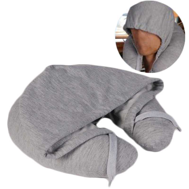 Soft Hooded U-pillow Body Neck Pillow Solid Nap Pillow Cotton Textile Home Travel Pillow 31x27cm F