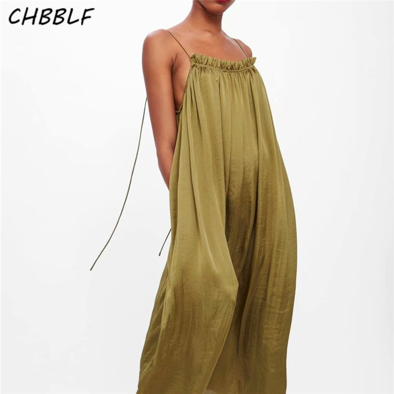 CHBBLF Women Elegant Haltermidi Dress Sleeveless Backless Mid Calf Female Vintage Dresses Vestidos JKC9035