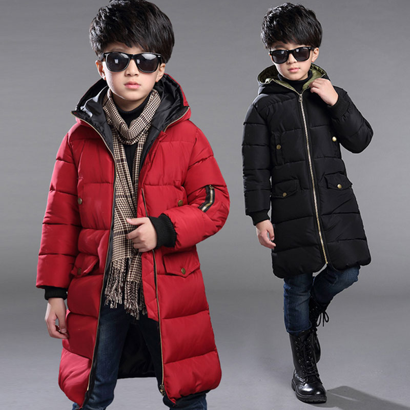 -30 degree boy clothes winter windproof down cotton jacket childrens long hooded coats for boys kdis clothing jackets outerwear