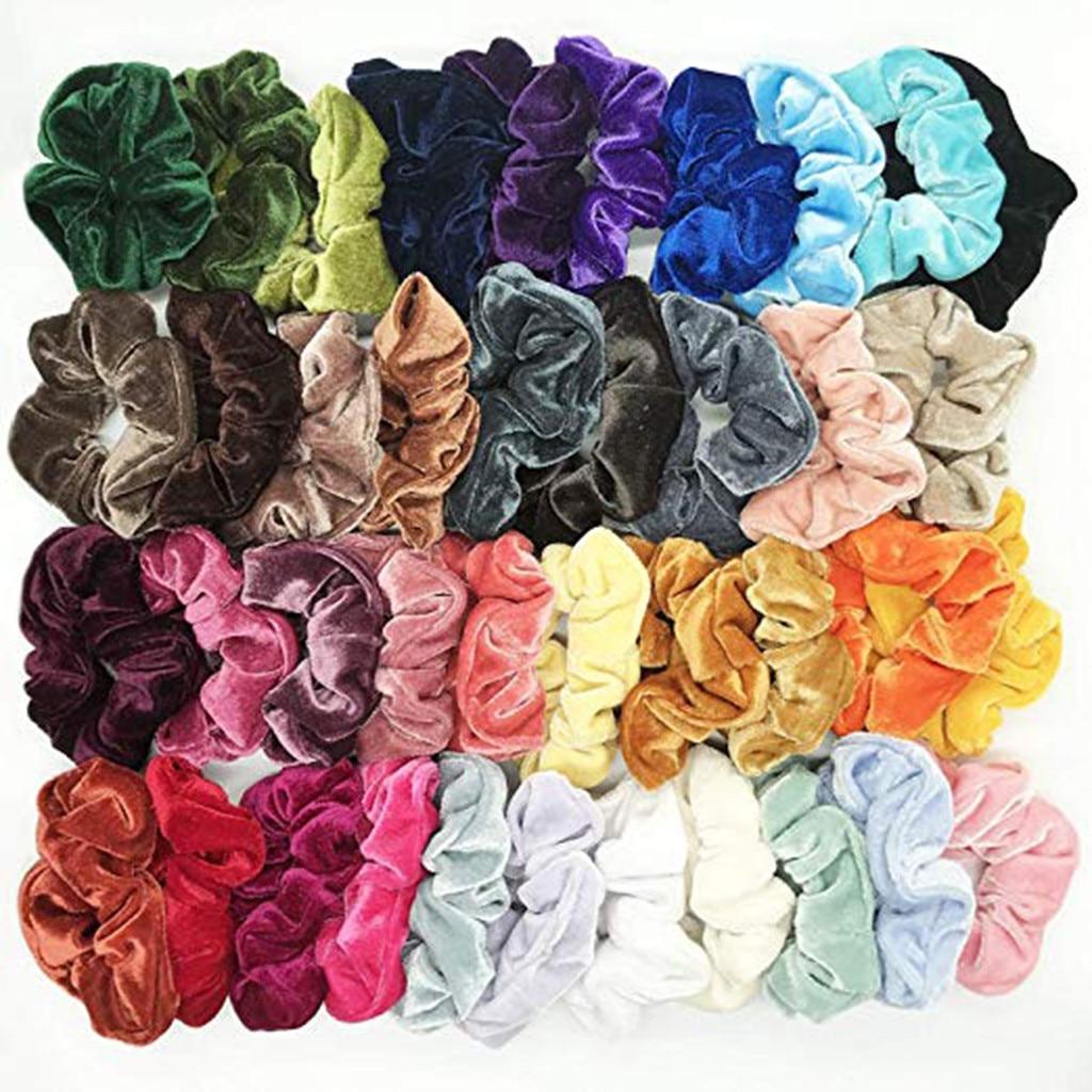 40 pcs velvet scrunchie feminino meninas elástico cabelo bandas de borracha acessórios goma para feminino laço anel de cabelo corda rabo de cavalo titular