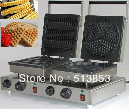 Free Shipping ,High Quality Doulbe-Head Electric Lolly Waffle Maker+ Heart Shape Waffle Maker Machine Baker free shipping high quality doulbe head electric cream cone round waffle maker machine baker