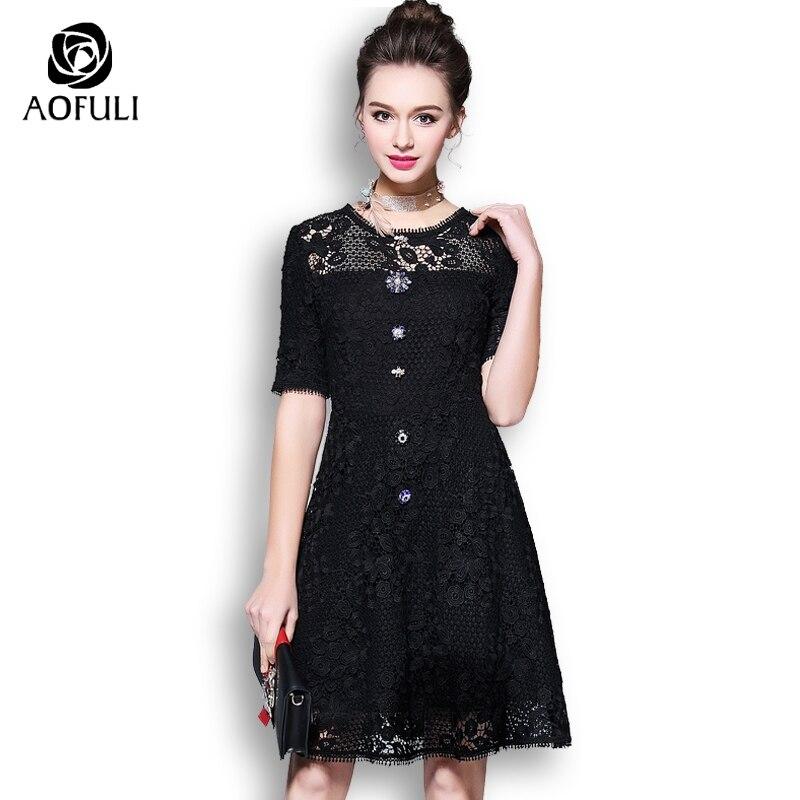 AOFULI M- 3XL 4XL 5XL Jewelry Buttons Lace Dress Plus Size Summer 2018  Floral Dress Women Short Sleeve Sundress Black 3014 1e3be7419b15