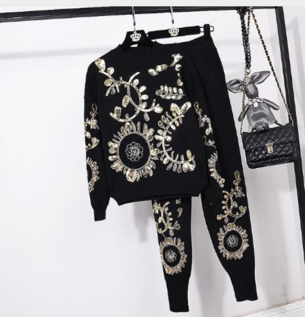 2018 New Fashion Autumn Winter Women's Gold Leaf Flower Embroidered Sweater + Casual Trousers Two Pieces Pants Suit