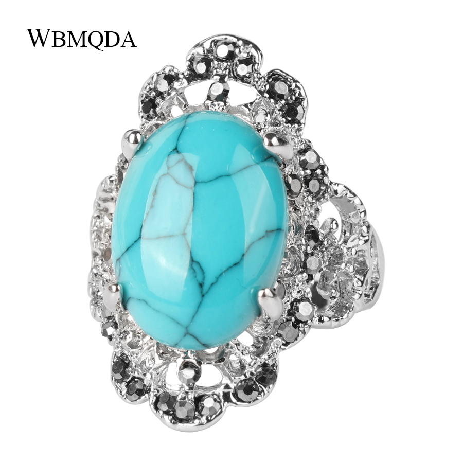 Luxury Ethnic Red Blue Stone Crystal Ring Vintage Big Silver Wedding Rings For Women