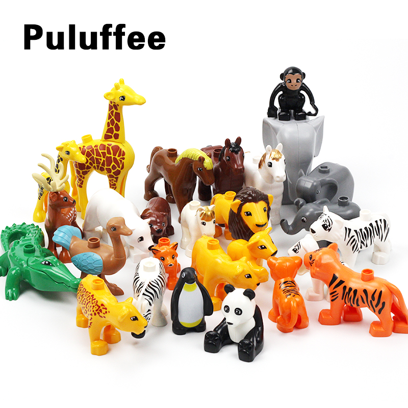 Animals Zoo Horse Bear Monkey Accessory Big Particles Building Blocks BABY DIY Toys Set Bricks Compatible with Duplo Child Gifts цена 2017