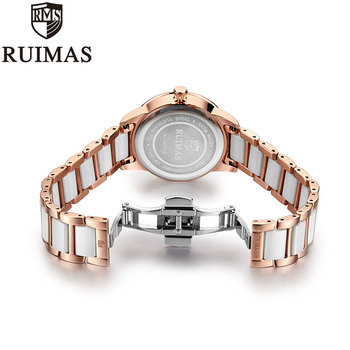 Ruimas Women Watches Rose Gold Crystal 7N0
