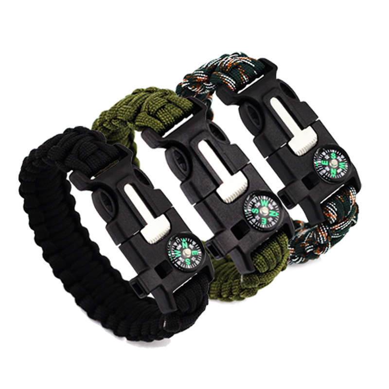 100pcs Climbing Paracord Bracelet outdoor Whistle Survival Gear Equipment Compass Buckle Escape Bracelet Starter Rope