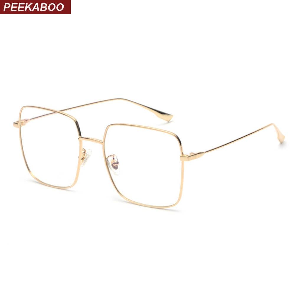 0a1358ec336 Peekaboo women optical glasses frame men square gold metal high quality big  square eyeglasses frame women