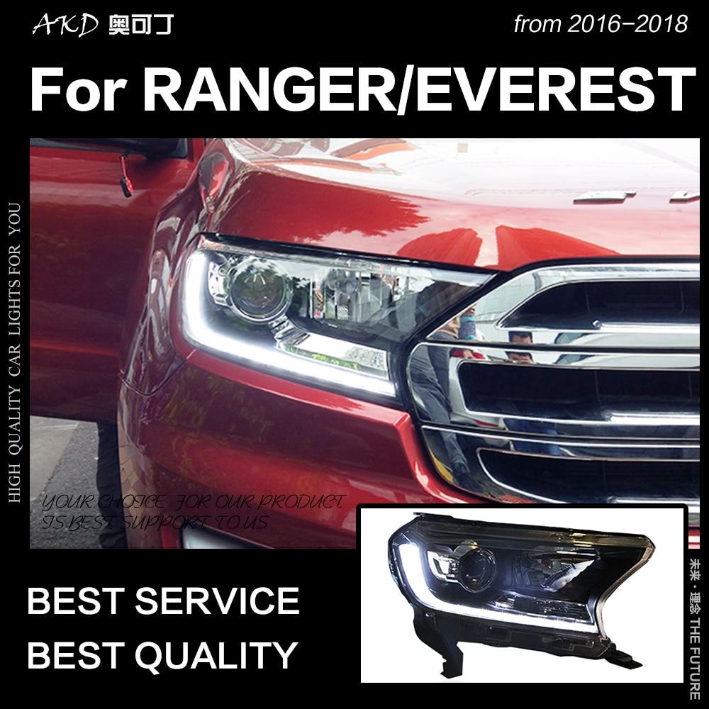 AKD Stile Auto Testa Della Lampada per Ford Everest Fari 2016-2018 New Ranger HA CONDOTTO il Faro LED DRL Hid Bi xenon Auto Accessori