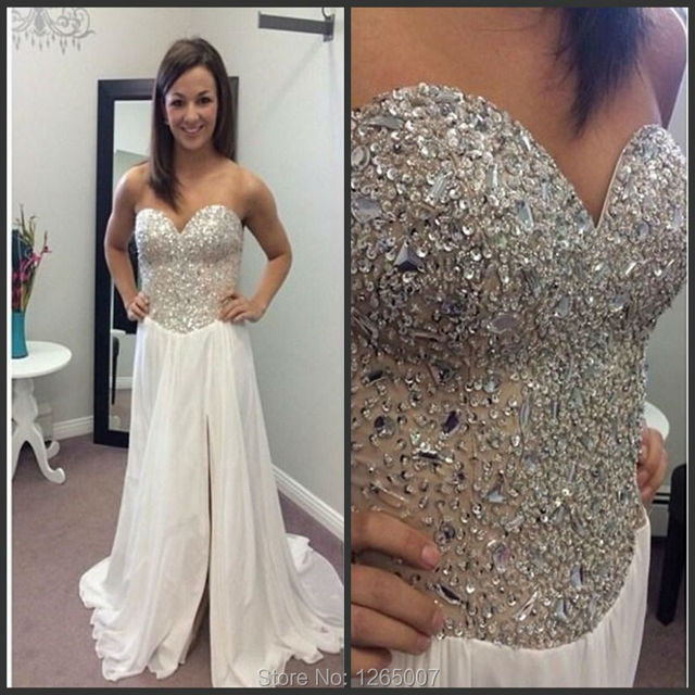 0c6dab133e New Arrival Sweetheart Silver Sequins Beaded Crystal A Line Side Slit Chiffon  Long White Prom Dresses