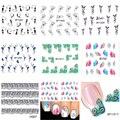7 PCS 3D Nail Art Stickers Transferência de Água Decalques Manicure DIY Adesivos Pontas Das Unhas Decorações Flor Do Laço Pena Adesivo Para prego