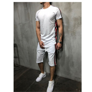 Image 2 - Мужская футболка из 2 предметов; летняя хлопковая футболка с короткими рукавами; шорты; спортивный костюм